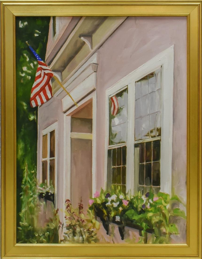 "Lesher, Carol Horgan, oil on canvas ""American Flag over - 2"