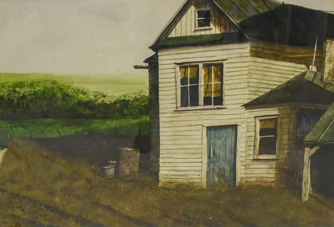 "Genther, Gary, watercolor ""Rain Barrels"""