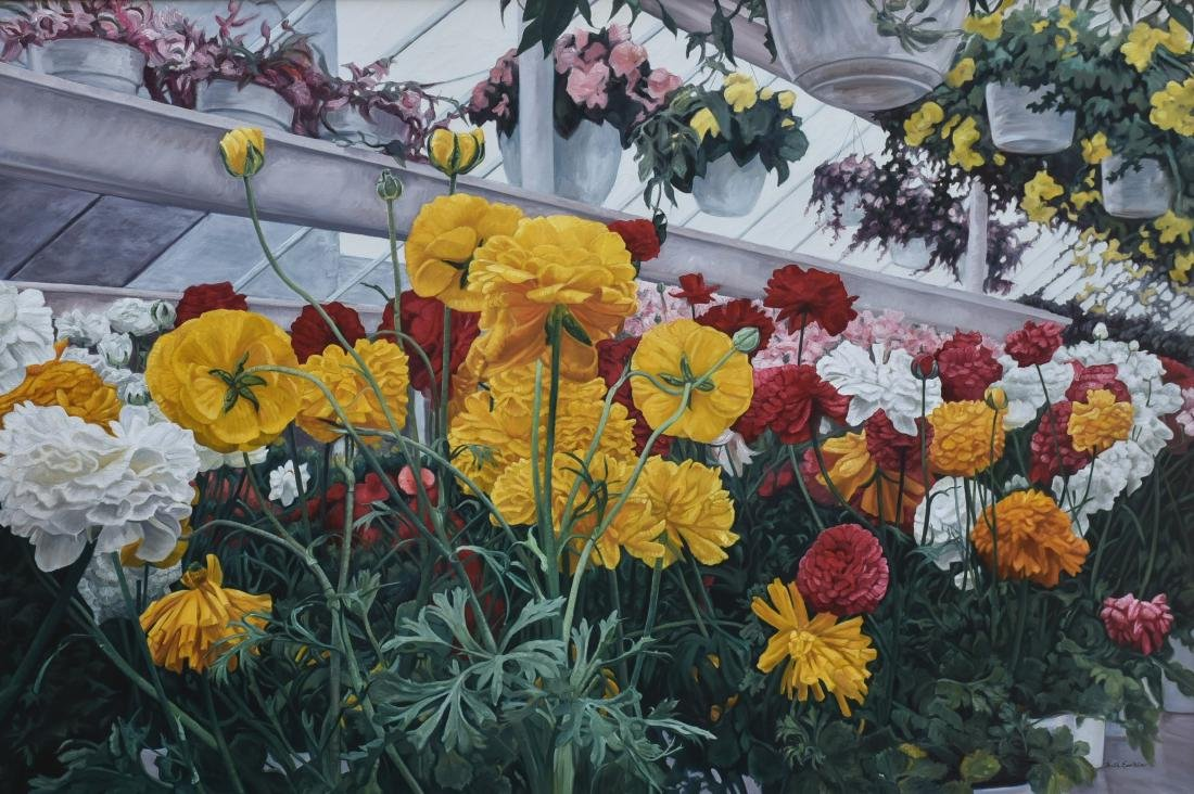"Epstein, Ruth, oil on canvas ""Reds & Yellows"""