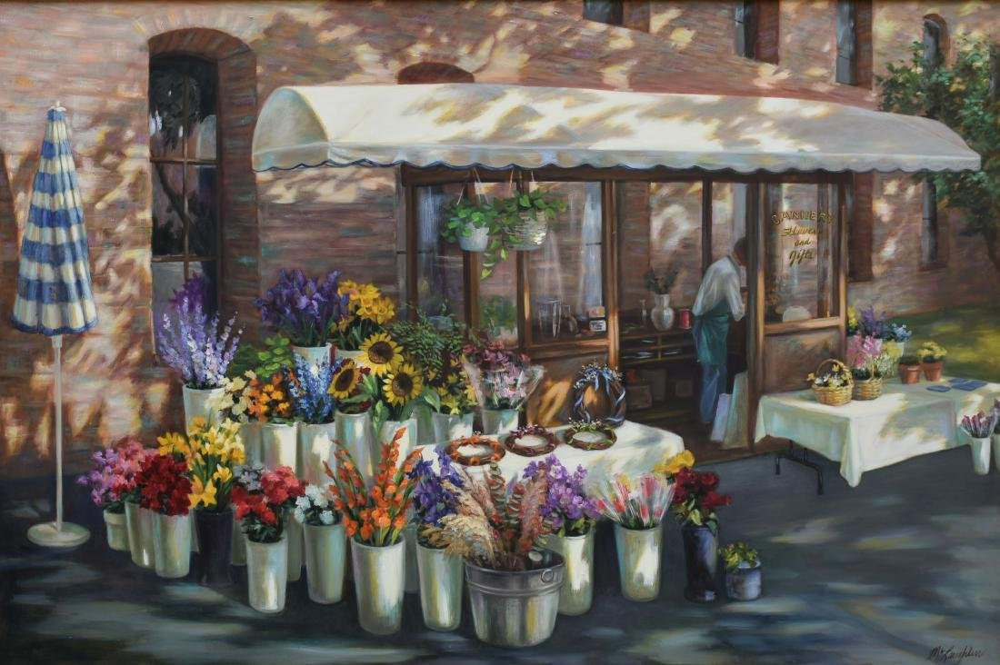 "McLaughlin, Jan, oil on canvas ""Cannery Flowers &"