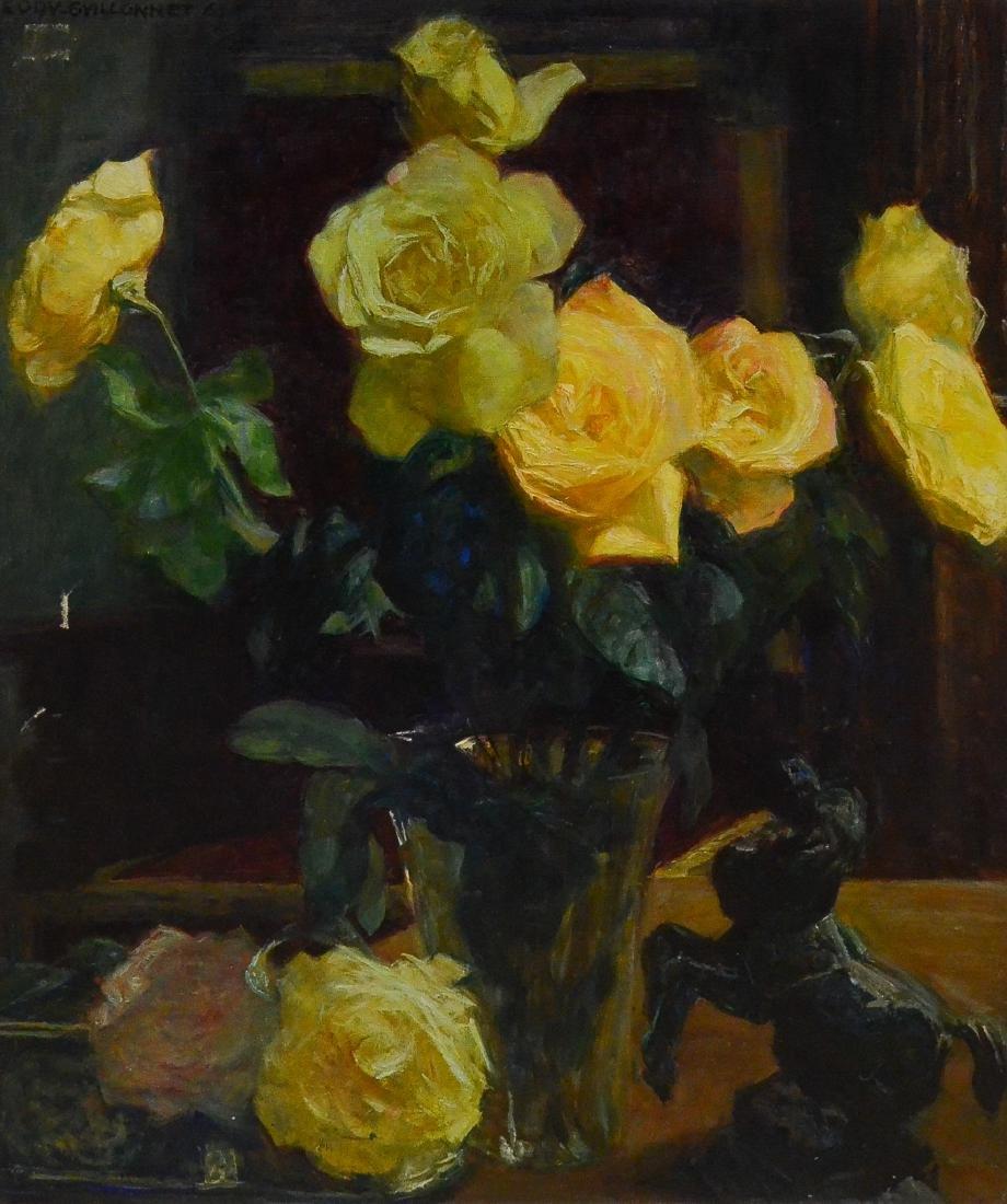 """Eodv-Guillonnet, oil on canvas """"Still Life of Roses"""""""