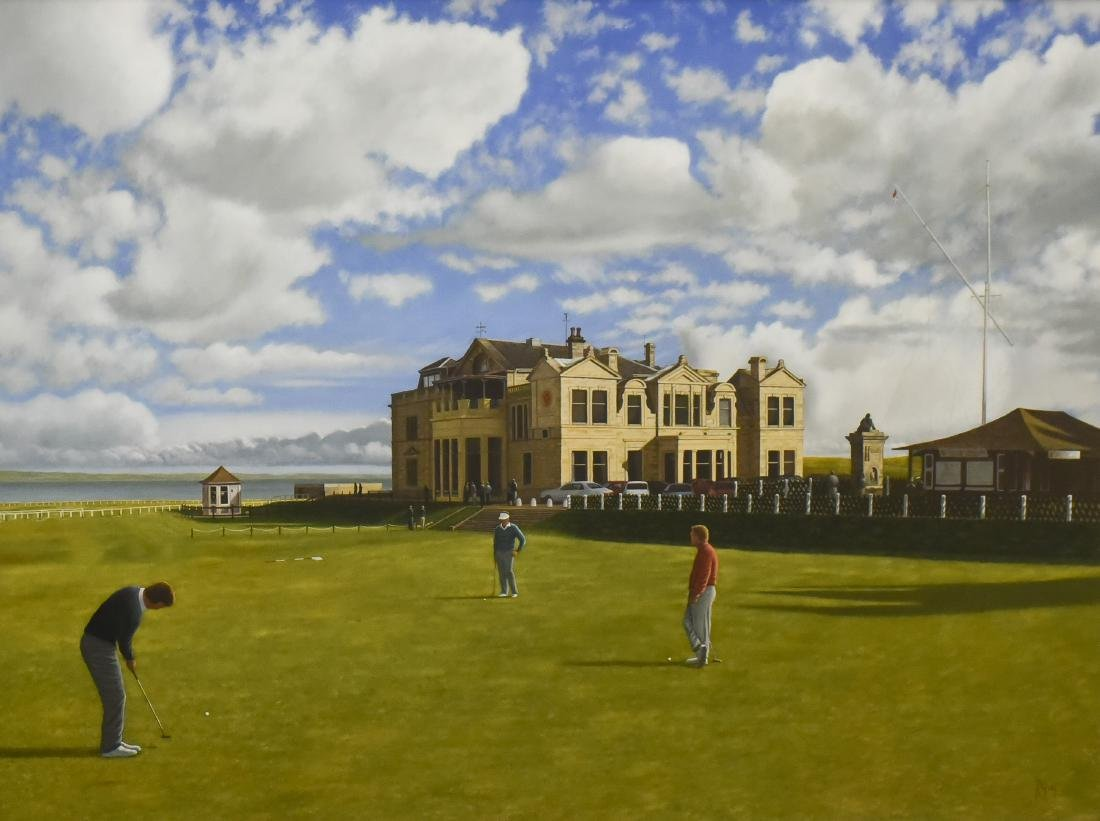 """Guy, Robert, oil on canvas """"St. Andrews, 18th Hole"""""""