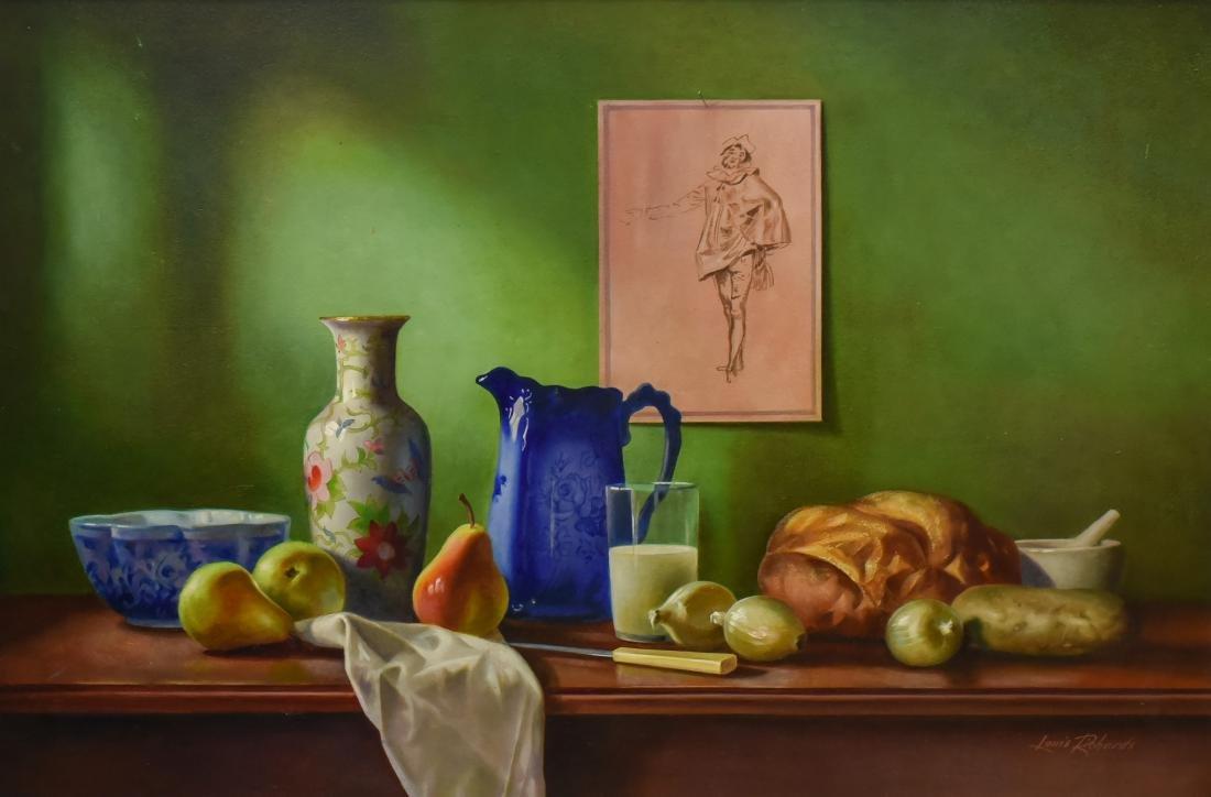 """Richards, Louis, oil on board """"Still Life & Watteau"""""""