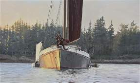 """Hoyt, William, oil on canvas """"Sunset Sail off the"""