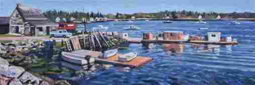 Moore Scott oil on canvas New England Harbor Scene