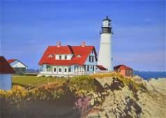 "Newnam, Thomas A., watercolor ""Portland Light"""