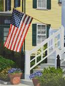 """Newnam, Thomas A., watercolor """"Flag Over Steps in Front"""