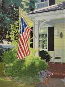 """Newnam, Thomas A., watercolor """"Flag Hanging from Porch"""