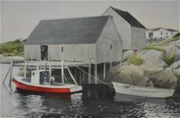 "Dunham, Gregory, watercolor ""Red Boat, Dockside"""