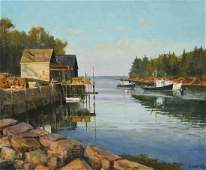 Kubitz Frederick oil on canvas New England Harbor
