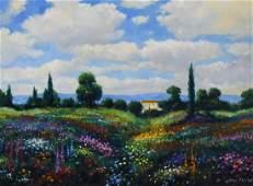 Zaccheo John oil on canvas Field of Wild Flowers