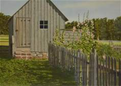 """Newnam, Thomas A., watercolor """"Shed with Old Fence and"""