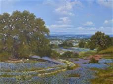 William A. Slaughter, oil, Texas Bluebonnet Landscape