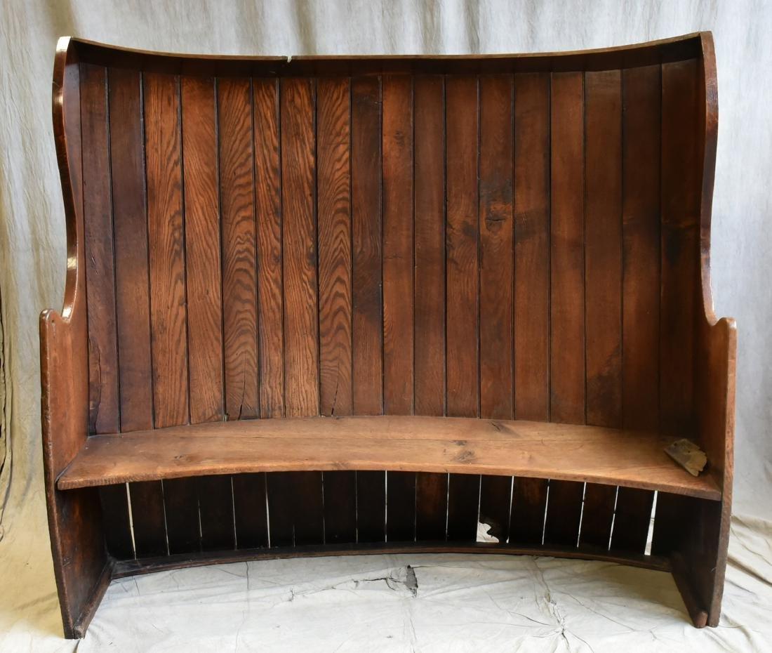 Georgian elm high-back bowed canopy settle