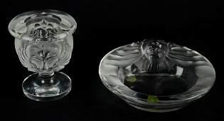 (2) Pcs Lalique Crystal Lion