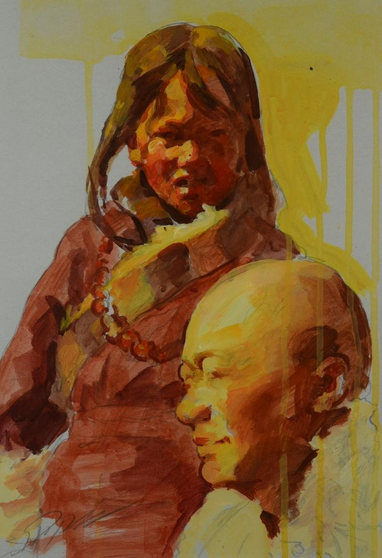 """Zhiyue Zheng Painting """"Father and Daughter"""""""