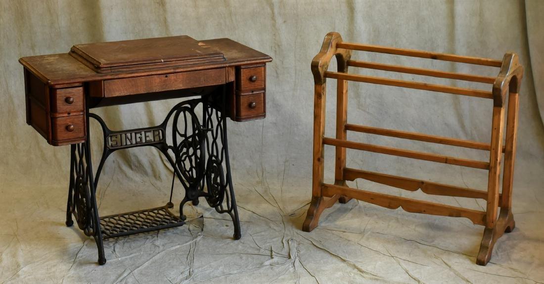 Singer oak treadle sewing machine, quilt rack