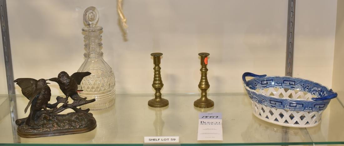 Shelf #59 - Jewelry Box, Candlesticks, Bird Sculpture