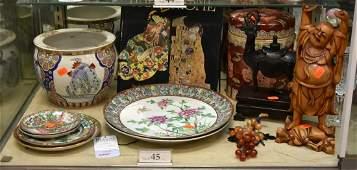 Shelf 45  12 Asian Pcs Pottery Porcelain Wood