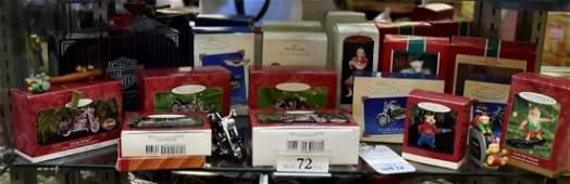 Shelf 72  Christmas Ornaments Including Harley