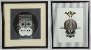"Charley Harper (2) Serigraphs ""Raccrobat"""
