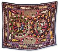 Embroidered Silk and Cotton Suzani