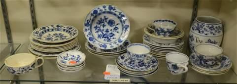 Shelf #68 - (43) Pcs Blue Onion Dinnerware