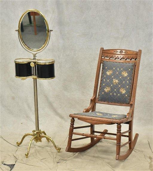 cheaper e6060 ff32a Victorian shaving mirror, Eastlake walnut rocking chair