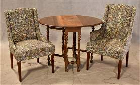 Pair upholstered fireside chairs, William and Mary