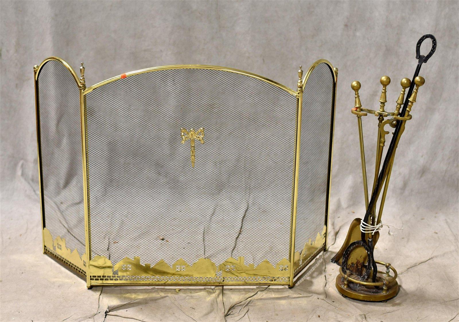 3-part brass firescreen w/ fireplace tools