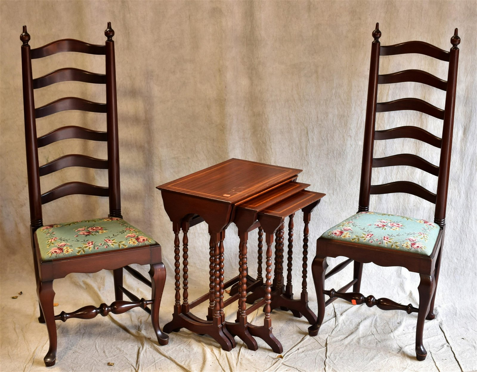 Pair Queen Anne style ladder back chairs, set inlaid