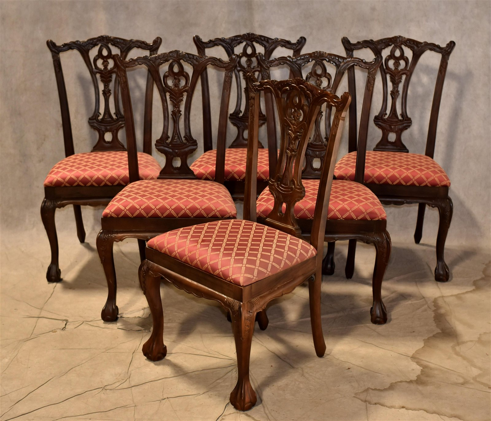 (6) Andre Originals Chippendale style dining chairs