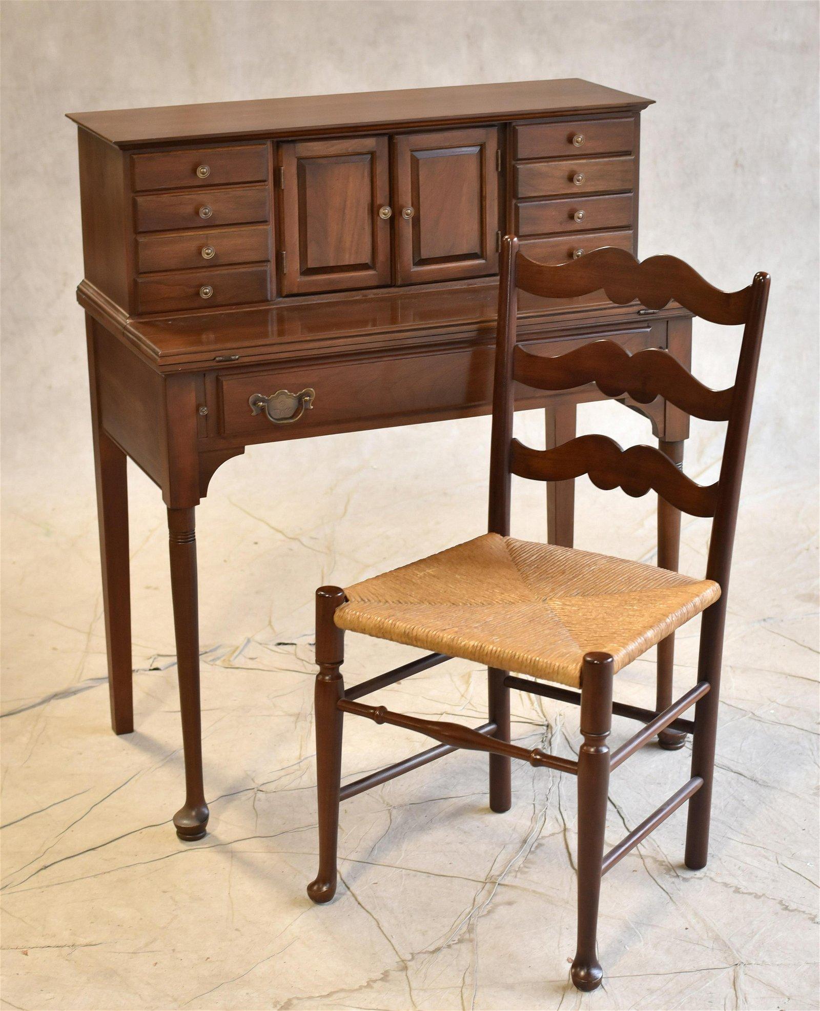 Queen Anne style cherry ladies desk, chair