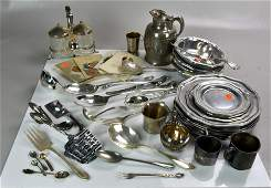 Group of Misc Silverplate  Pewter Tableware