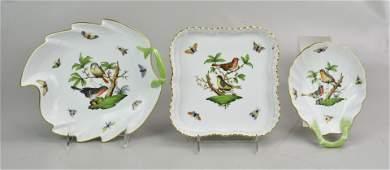 3 Pcs Herend Rothschild Bird Porcelain