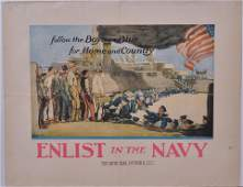 """WWI Poster """"Enlist In The Navy"""", United States"""