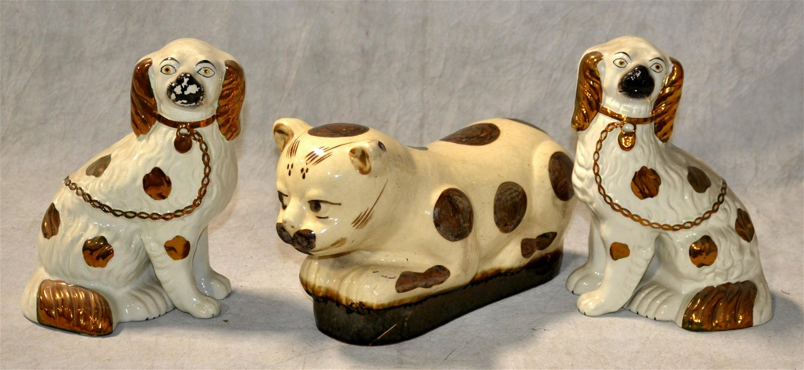 Staffordshire Pottery Spaniels and Chinese Cat Pillow