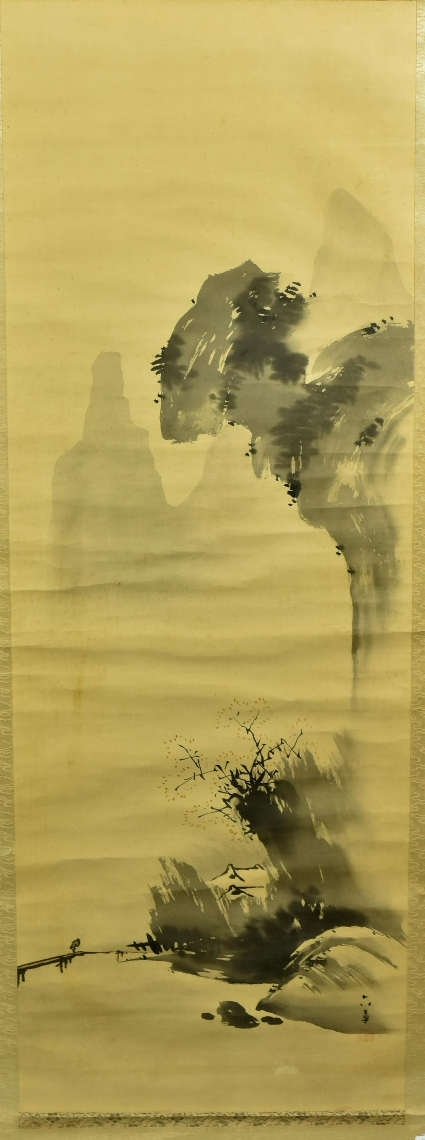 Framed Chinese Landscape on Silk Scroll