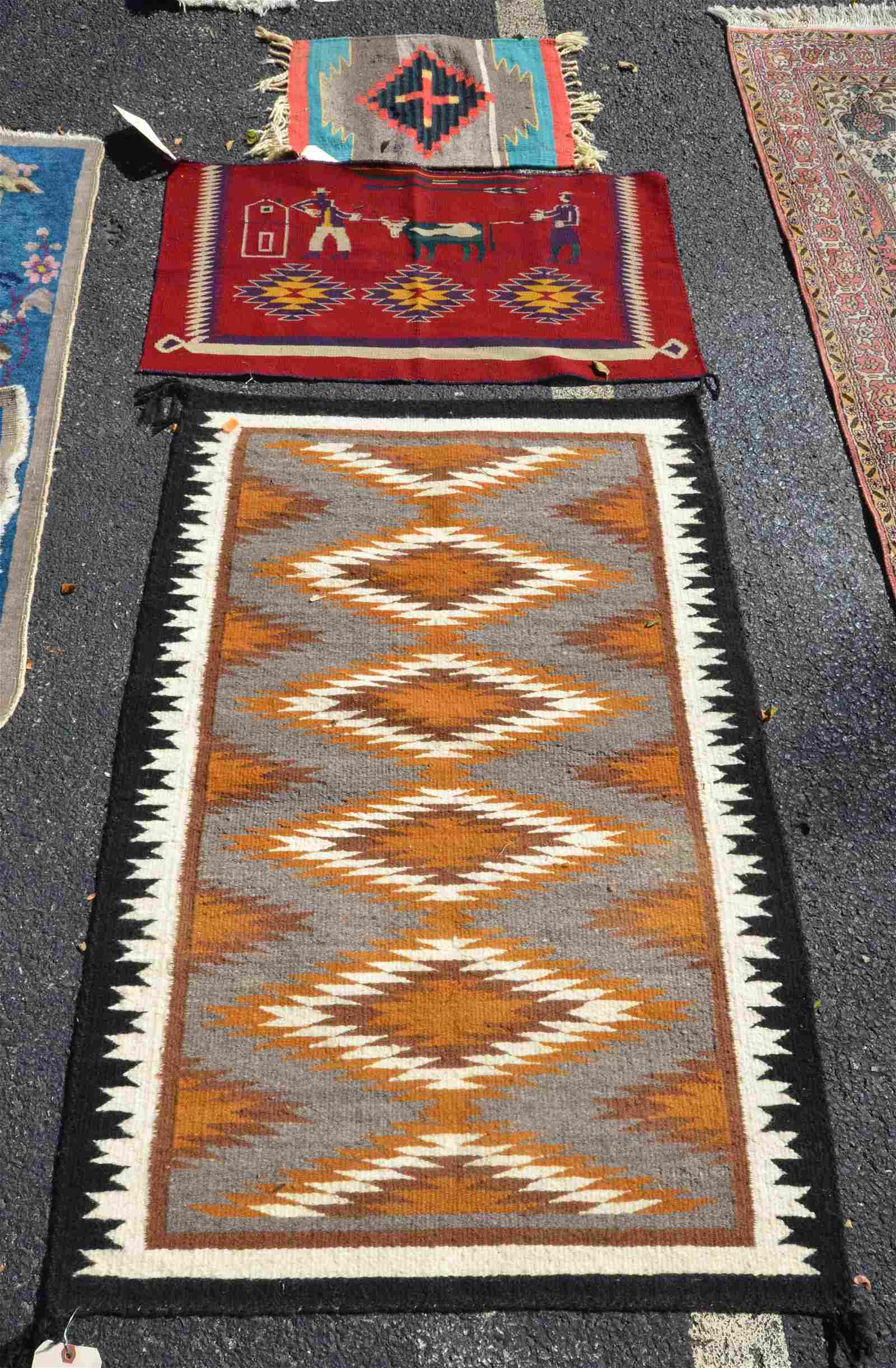 """(3) Navajo rugs, largest 2'7"""" x 3'9"""""""