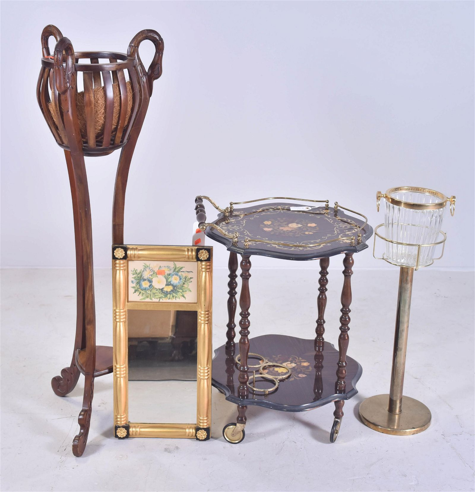 mahogany finished plant stand, gilt Federal mirror