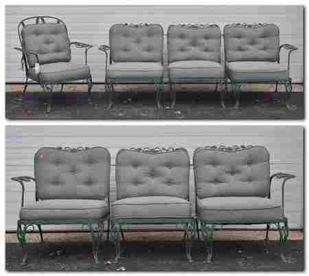 (3) pc Woodard style green painted patio set