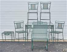 (7) pc Woodard style green painted patio dining set
