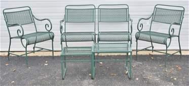 (4) pc Woodard style green painted patio set
