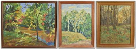 3 American Impressionist Landscape Paintings