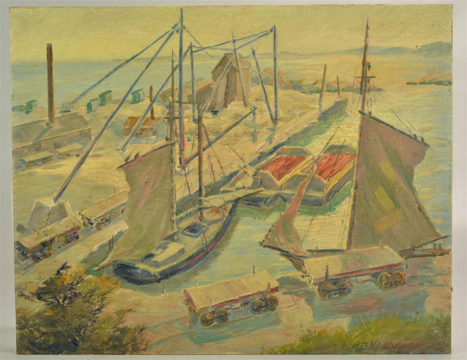 """Frank Henry Painting """"New England Harbor"""""""