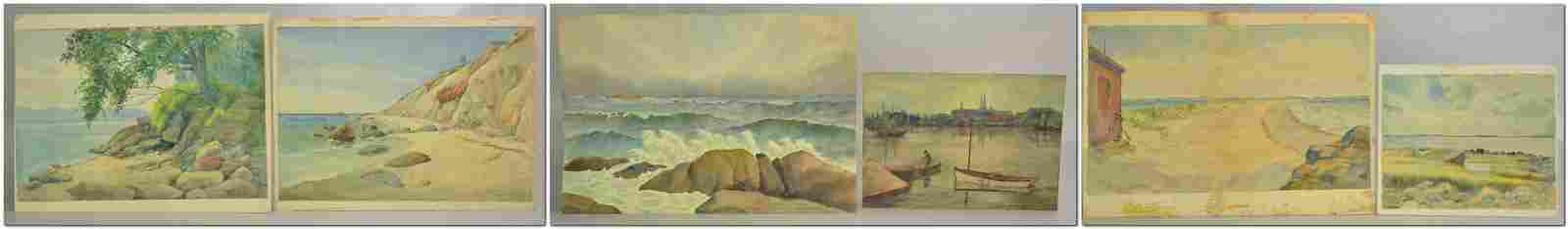 Frank Hendry (6) Unframed Watercolors Coastal Scenes