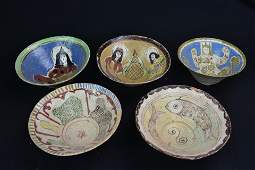 5 Multicolored Stoneware Afghan Serving Bowls