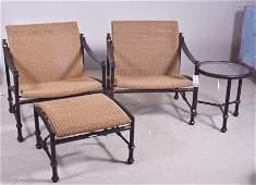 4 pc rattan and metal patio set