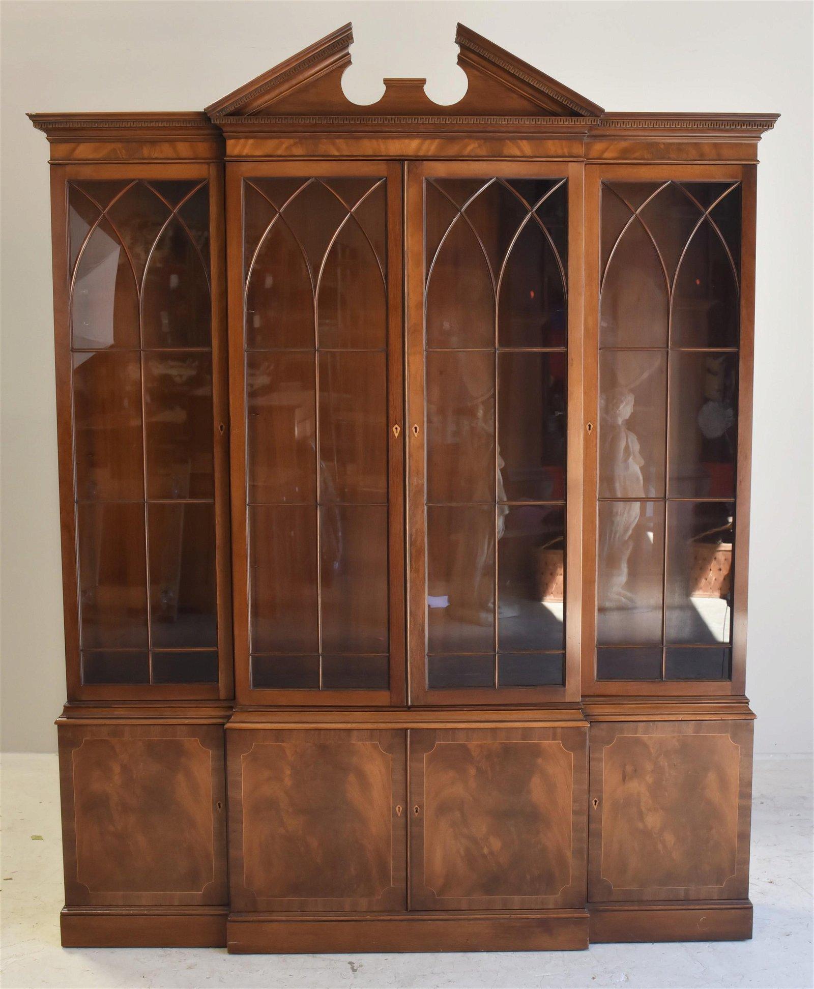 Baker 2-pc mahogany china cabinet