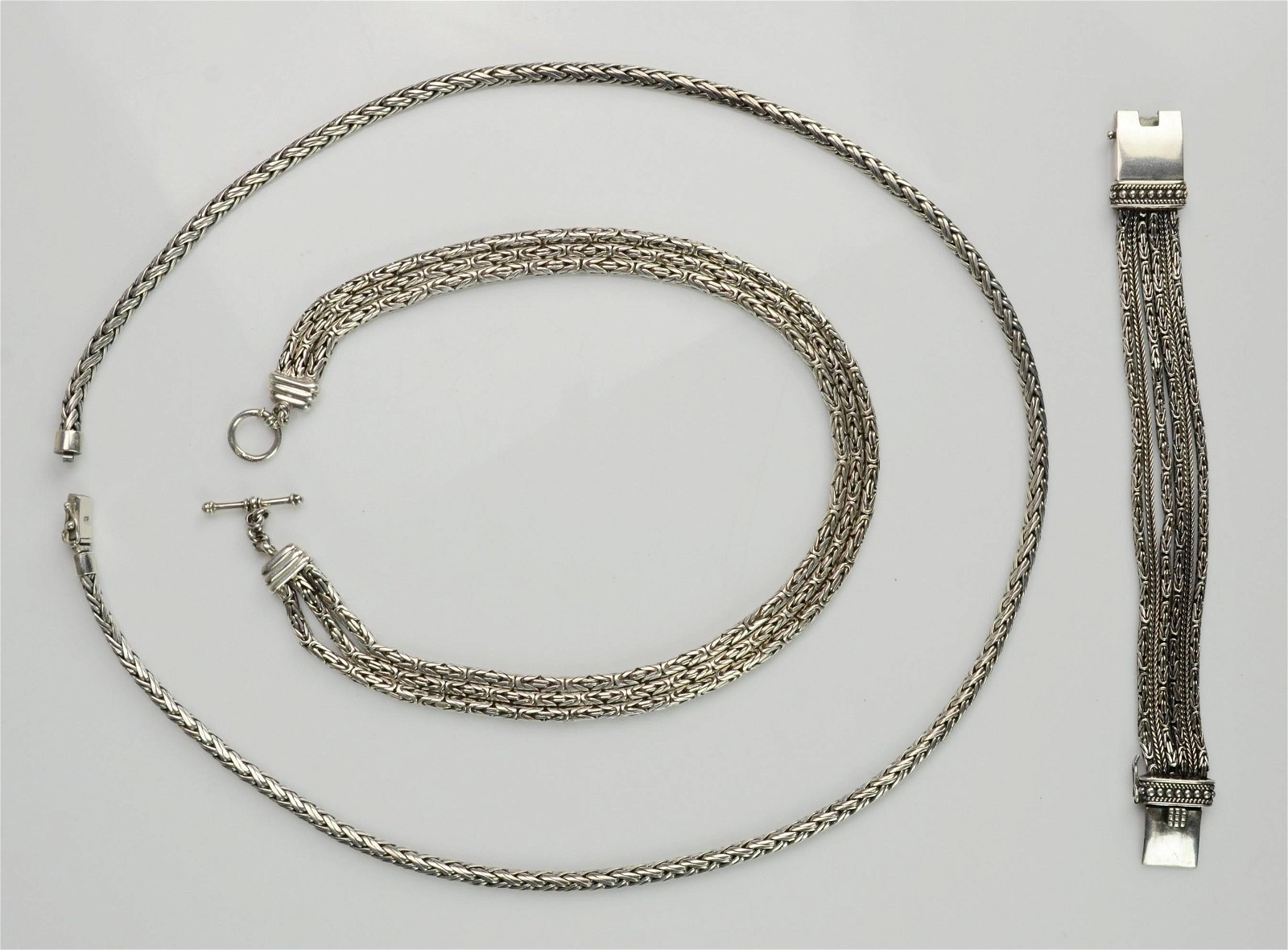 (3) Heavy Braided Sterling Silver Necklaces and